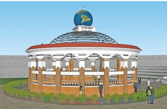 निर्माण हुँदै बारपाक भूकम्प स्मृति स्तम्भ