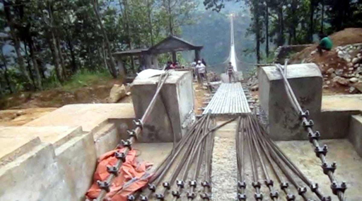 एसियाकै लामो झोलुङ्गे पुल निर्माणको अन्तिम चरणमा