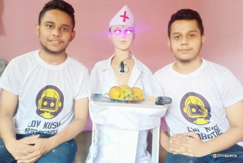 संक्रमितको सेवा गर्न 'गो-कोरोना रोबोट' बनाए बुटवलका जुम्ल्याहा दाजुभाइले