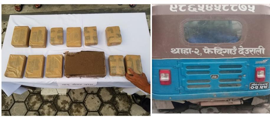 काठमाडौं भित्रिँदै गरेको १२ किलो चरेशसहित ३ जना पक्राउ